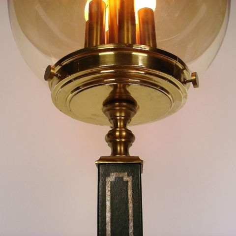 Zeldzame Franse Art Deco 'console' vloerlamp van Jacques Adnet in Hollywood Regency stijl