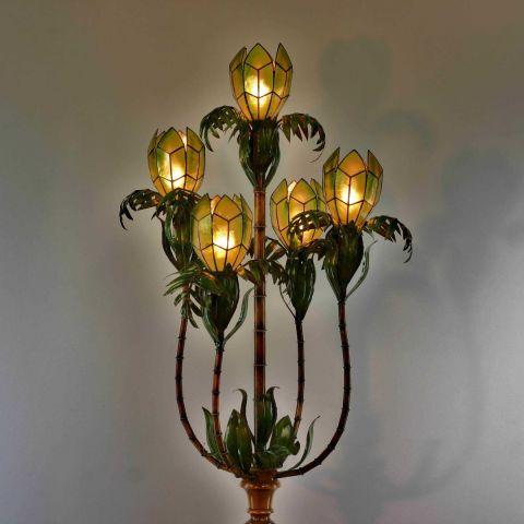 Zeer zeldzame handgemaakte Italiaanse Palm Tree Lotus vloerlamp  in de stijl van Maison Jansen, Hollywood Regency