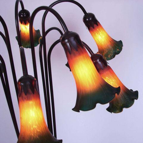 Art Nouveau 'Lily' Vloerlamp Tiffany stijl met 10 lichtpunten