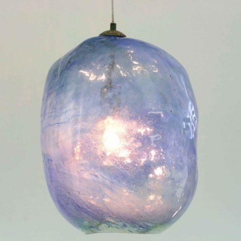 Mondgeblazen hanglamp 'Blue Bubble II'