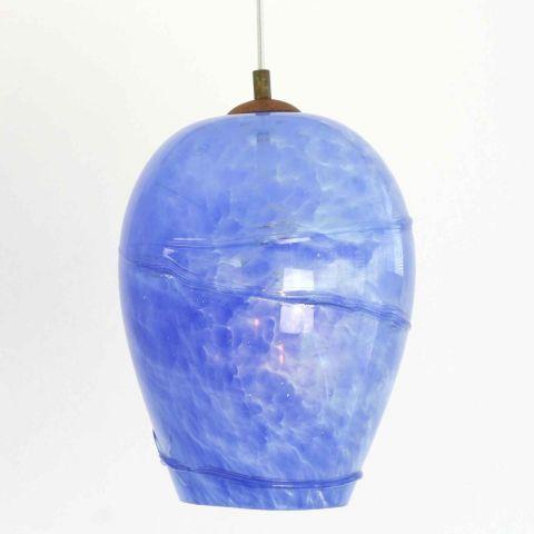 Mondgeblazen hanglamp 'Blue Lava II'