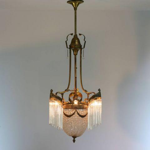 Antieke Franse kristallen Kroonluchter Art Nouveau in de stijl van Hector Guimard