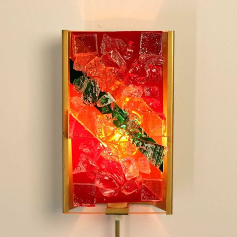 Unica Wandlamp gefused glas van de gebr. Cosack