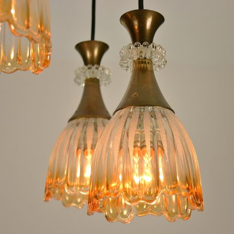 Zeldzame hanglamp met 5 kelken