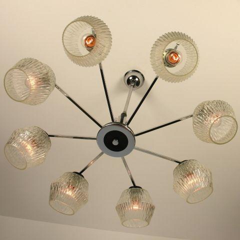 Hanglamp met acht kelken in Stilnovo stijl