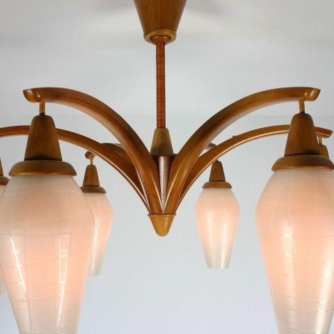 Zeldzame Hanglamp met 6 kelken Scandinavisch Design