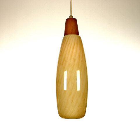 Zeldzame Deense hanglamp geel spiraalglas