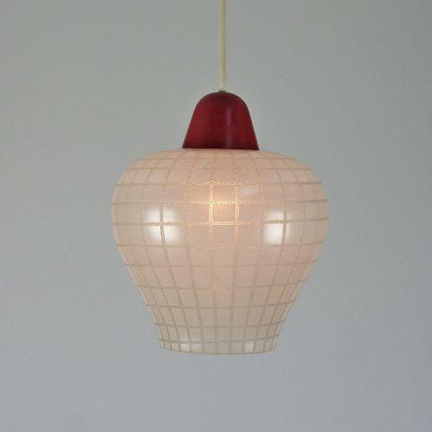 Jaren 50 hanglamp geëtst glas