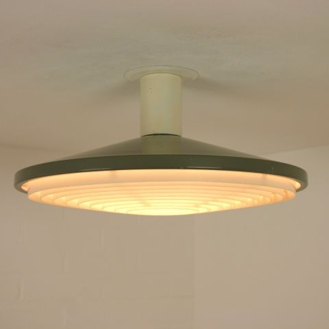 Zeldzame industriële plafondlamp Dutch Design Philips; type NCS 11