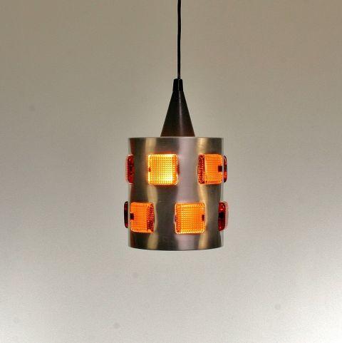 Deense hanglamp met amber glasvensters
