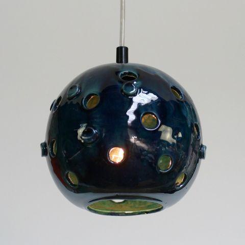 Zeldzame Space Age Handmade Hanglamp van geglazuurd keramiek