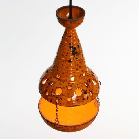 Zeldzame Space Age Hanglamp/plantenschaal van geglazuurd keramiek