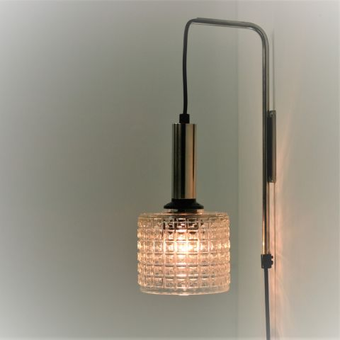 Vintage wandlamp kristalglas en chroom