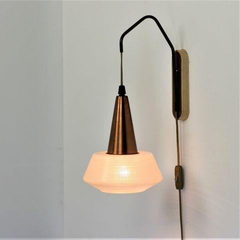 Wandlampje koper en glas