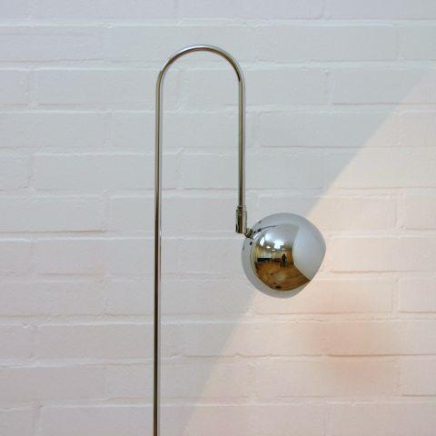 Zeldzame chromen vloerlamp, praktische jaren 60 booglamp