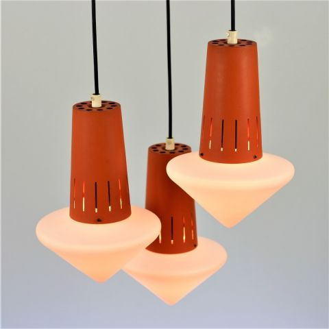 Zeldzame Space Age trio oranje cascade hanglamp Dutch Design van Philips attr.