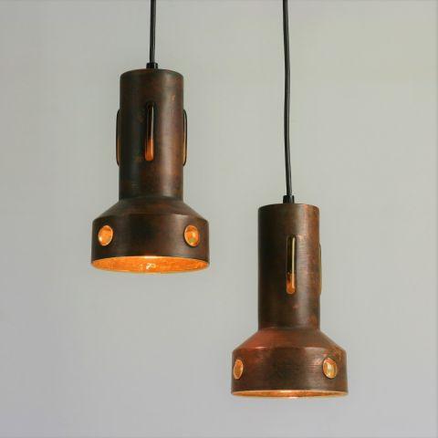 In geoxideerd koper gevatte glazen hanglamp van Nanny Still voor Philips/Peill & Putzler