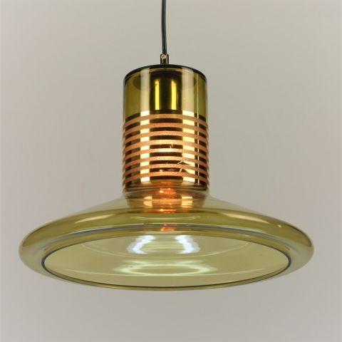 Zeldzame hanglamp met een glazen kap jaren 50 – 60 Doria Leuchten attr.